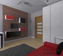 Jasne, beżowe drzwi kontrastujące z szarością ścian uzupełniają wnętrze pokoju.