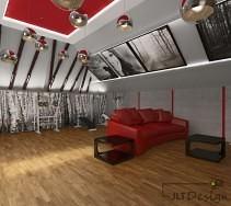 Kontrastująca, czerwona sofa.