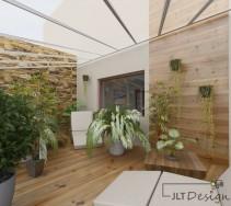 Bardzo jasne wnętrze pomieszczenia bogatego w roślinność i kwiaty.