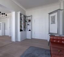 Jasne wnętrze przestronnego pomieszczenia w bieli i szarości.