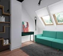 Jasny pokój poddasza zaprojektowany w bieli a dodatkiem intensywnej zieleni.