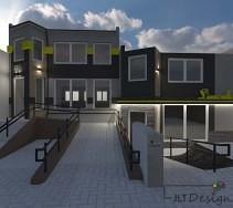 Elewacja budynku w odcieniach ciemniejszej szarości z dodatkiem intensywnej zieleni.