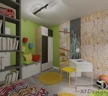 Kolorowy, żywy pokój z pojemnymi mebelkami