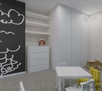 Kontrast czarnej ściany i białych mebli w pokoju dziewczęcym