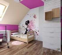 Biało różowy pokój z brązowymi dodatkami