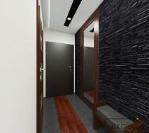 Aranżacja korytarza ze ścianą z łupka i dużym lustrem w drewnianej ramie