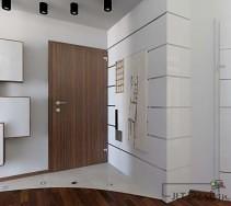 Niewielki korytarz w odcieniu szarości z drzwiami w kolorze podłogi.