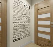 Projekt ściany korytarza w odcieniu beżu z napisami.