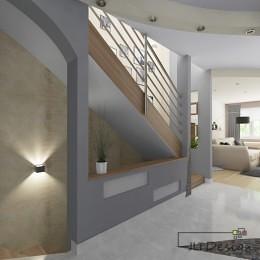 Elegancka i nowoczesna rezydencja - jasna przestrzeń w beżach, szarości i bieli, zestawiona z materiałami o różnych fakturach.