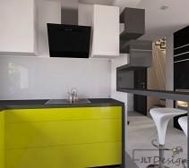 Kuchnia o nowoczesnej i prostej formie, w której główną rolę odgrywają lakieowane na limonowy fronty. od salonu oddziela ją geometryczna designerska półka przechodząca w wysoki barowy blat.