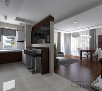 minimalistyczna kuchnia otwarta na salon. charakteru dodają bordowe dodatki - w salonie lakierowany stół, w kuchni natomiast dolna zabudowa szafek. warto zwrócić uwagę na podwieszane sufity.