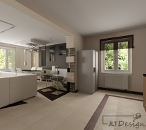 nowoczesna kuchnia otwarta na salon i jadalnię. całość utrzymana jest w bieli, beżu i brązie. granice między pomieszczeniami wyznaczają belka pod sufitem oraz linie wytyczone w kaflach na podłodze.