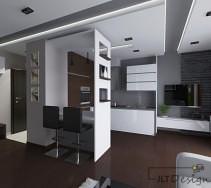 Nowoczesna, prosta w formie kuchnia, otwarta na salon. Granice pomieszczeń wytyczają dekoracyjne ścianki na granicy mebli, przedłużony blat ze stołkami barowymi oraz kształt podwieszanego sufitu.