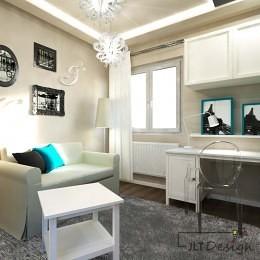 Białe stylowe meble w pokoju glamour przeznaczonym dla nastolatki