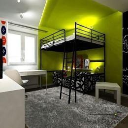 Pokój przeznaczony dla nastolatki z czarnym piętrowym łóżkiem i białym biurkiem