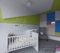 Kolorowy pokój dziecięcy z dużą pojemną szafą
