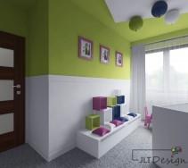 Biało-zielone ściany w przytulnym pokoju dziecięcym