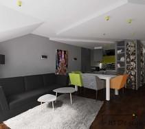 Aranżacja nowoczesnego mieszkania z pomarańczowymi i zielonymi akcentami