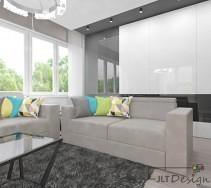 Wygodne szare kanapy wykorzystane w salonie