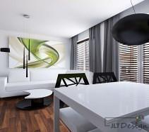 Nowoczesny biały salon z dodatkami zieleni
