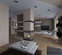 Otwarta przestrzeń domu w kolorach ziemi i kominkiem w centralnym punkcie