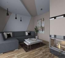 Mały salon z kominkiem i podwieszanym sufitem