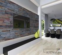 Aranżacja kamienia na ścianie w salonie