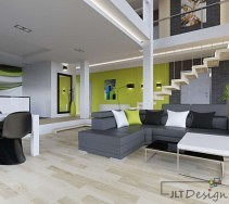 Nowoczesny salon z zielonymi akcentami i szarymi meblami