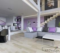 Liliowe ściany w salonie