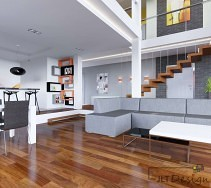 Podwieszane schody w salonie