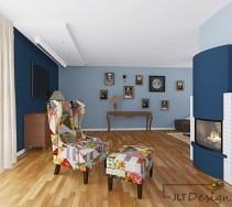 Stylowy wystrój salonu na bazie koloru niebieskiego z kolorowymi dodatkami