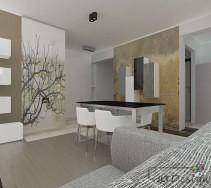 Jadalnia i salon z beżowymi i brązowymi dodatkami