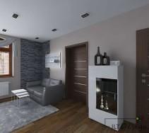 Aranżacja kuchni otwartej na salon z wykorzystaną zabudową korytarza