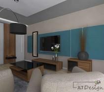 Nowoczesny drewniany salon z niebieskimi akcentami