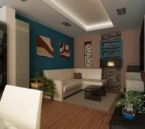Designerski salon w kolorze niebieskim z kominkiem na ścianie
