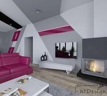 Salon w kolorze fioletowym z narożnym kominkiem
