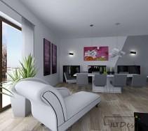 Stylowy nowoczesny salon z białym szezlongiem