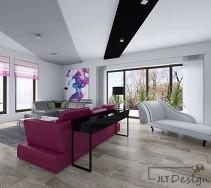 Aranżacja salonu z podwieszanymi sufitami szezlongiem i fuksjową sofą