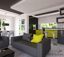 Nowoczesne wnętrze w kontrastowych czarno białych kolorach z zielonymi dodatkami