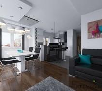 Przestronny salon z aneksem kuchennym w biali i czerni z drewnianą podłogą