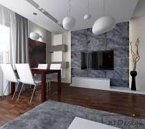 Swobodnie zwisające lampy w nowoczesnym salonie