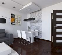 Biały salon z machoniową podłogą