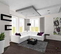 Fioletowe akcenty w białym salonie