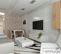 Białe meble w przytulnym salonie