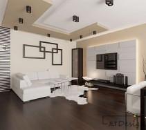 Dwukolorowy podwieszany sufit i elementy 3D na ścianach