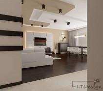 Aranżacja salonu z zabudowaną ścianą 3D pod tv