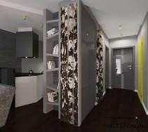 Nowoczesne mieszkanie z brzozami na ścianie