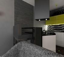Szafa cegła na ścianie kuchni i salonu