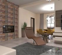 Drewniane stoliki w salonie i designerski szezlong