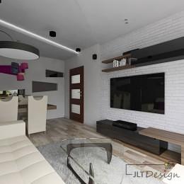 Designerski salon z zaaranżowaną ścianą telewizyjną